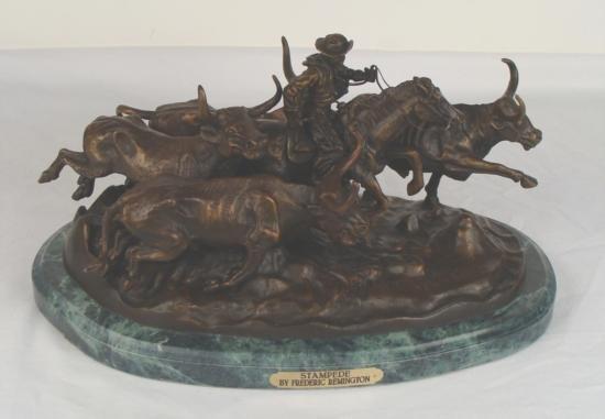 Frederic Remington Bronze Cowboy Art Sculpture Stampede