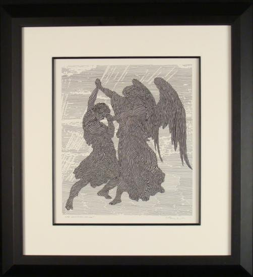 Guillaume Azoulay Original Drawing Wrestling Angel Art