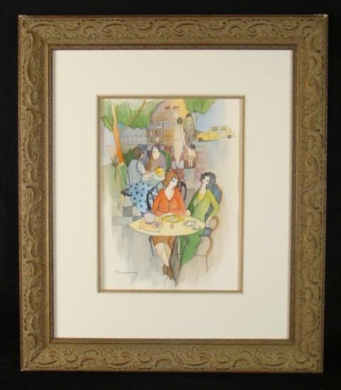 Oleg Tarkay Original Watercolor Painting Sitting Area