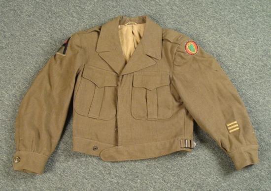 WWII US Army Ike Jacket Eisenhower OD 1944 w/ Patches