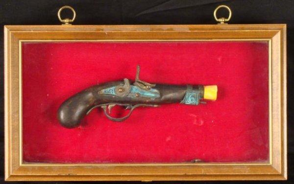 Replica 18th Century Pistol Gun Relic in Display Case