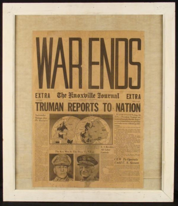 WWII Era Vintage Newspaper Cover Knoxville Journal