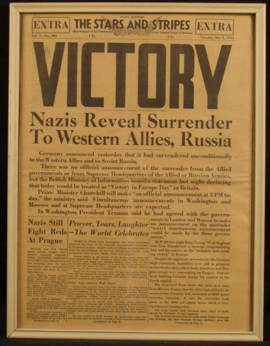 ORIGINAL WWII STARS & STRIPES NEWSPAPER NAZIS SURRENDER