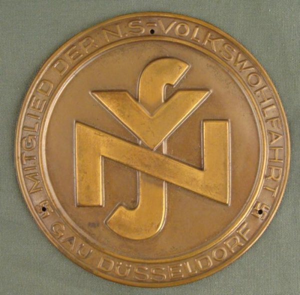 NAZI GAU DUSSELDORF WELFARE MEMBER DOOR PLAQUE INSIGNIA