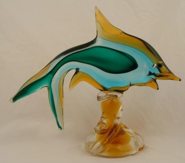 Blue and Green Art Glass Fish Figurine Vintage