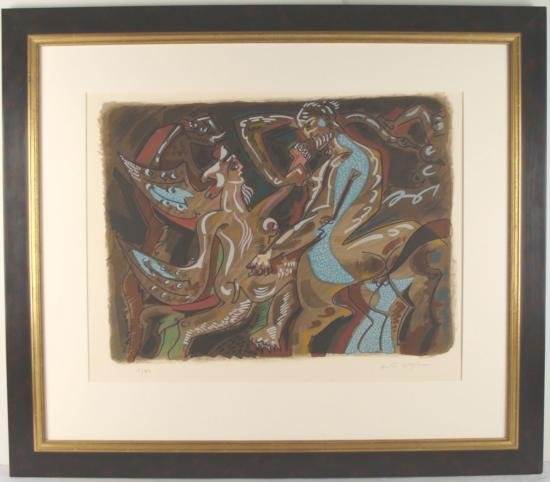 Signed ANDRE MASSON Print Neptune LE Lithograph Framed