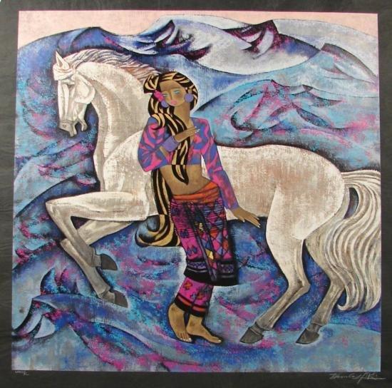 Zhou Ling WHITE HORSE Yunnan School Print Rice Paper