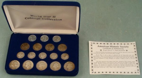American Historic Society WWII 17 Piece Coin Collection