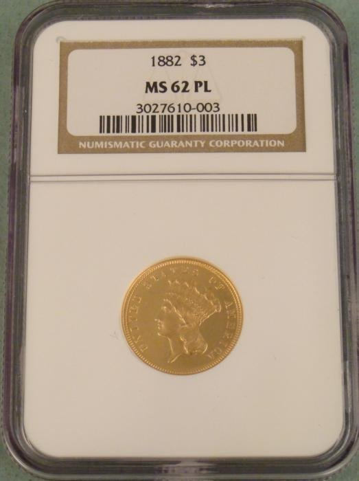 1882 3 Dollar Gold Coin NGC Mint State 62 Proof Like