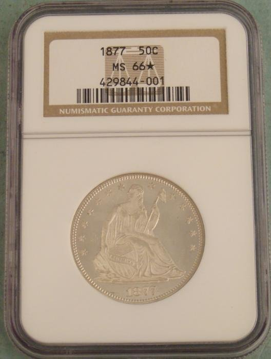 1877 Seated Half Dollar Coin NGC Mint State 66