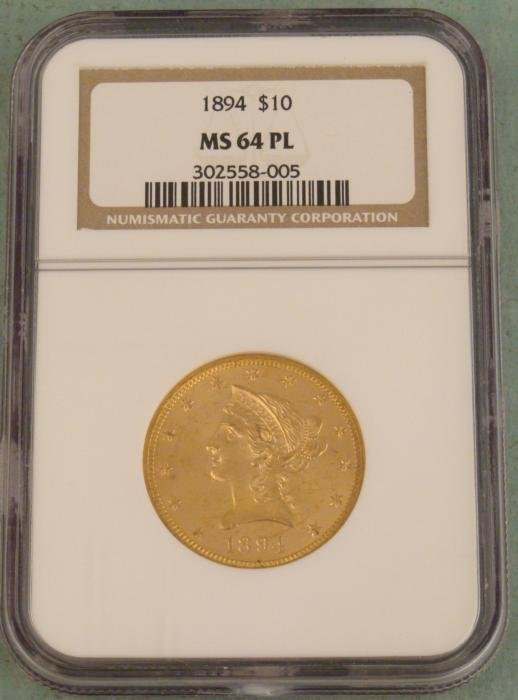 1894 $10 Gold Coin Liberty NGC Mint State 64 Proof Like