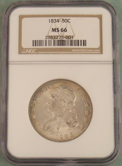 1834 Bust Half Dollar NGC Mint State 66 Coin