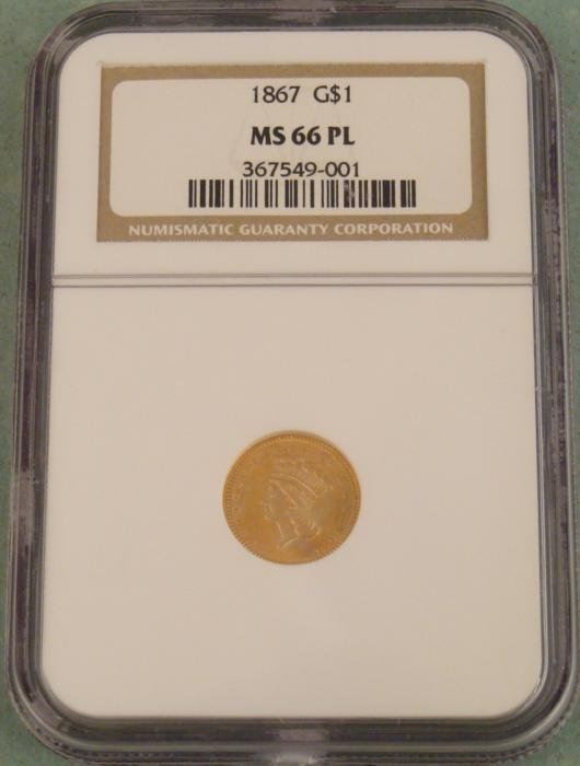 1867 Gold Dollar Coin NGC Mint State 66 Proof Like