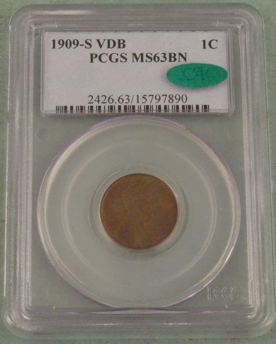1909 S VDB Wheat Penny 1 Cent MS63 BN PCGS CAC Approved