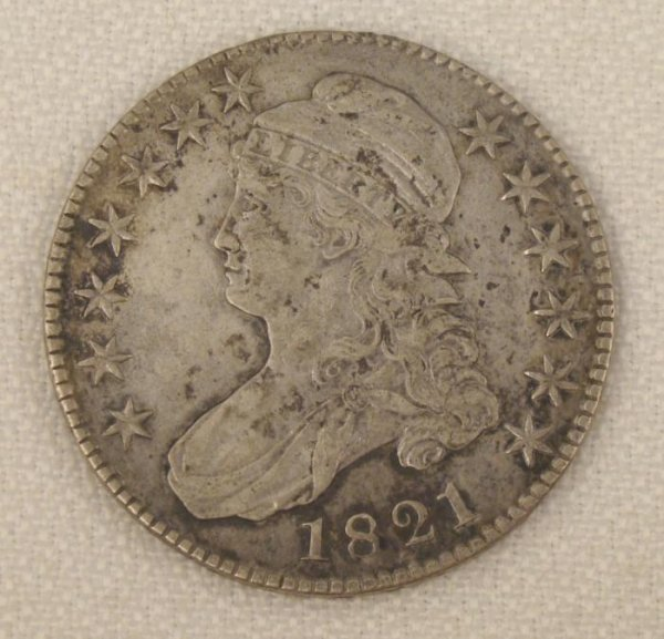 1821 50 Cent Capped Bust Half Dollar Coin RAW AU