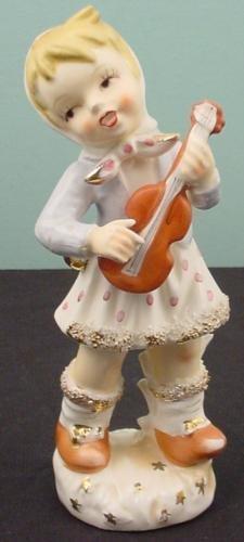 Girl With Guitar Porcelain Vintage Figurine N Marked