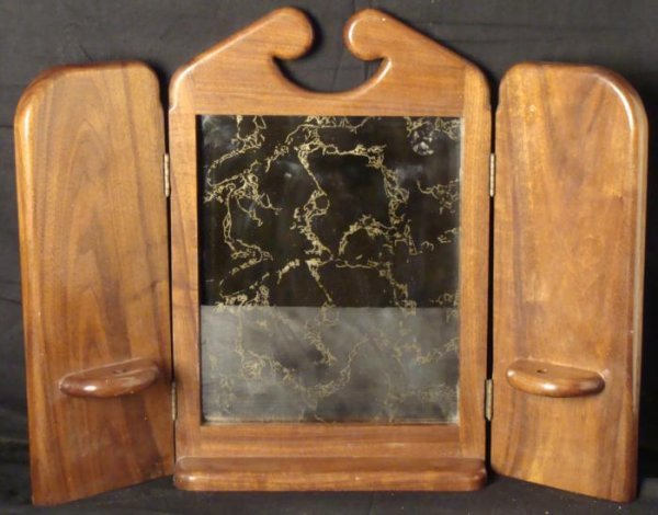 Vintage Oak Wall Prayer Mirror w/ Candle Holders