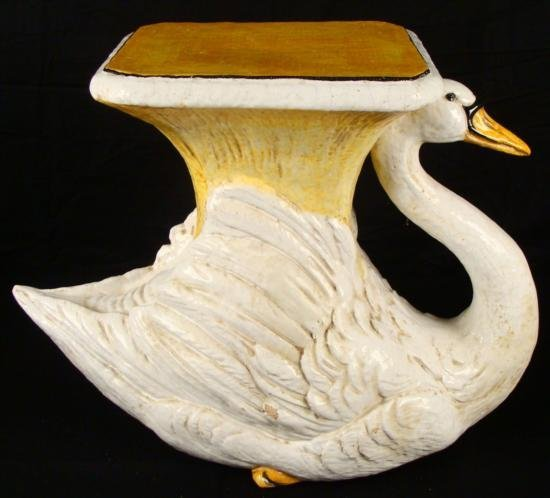 Vintage Large Ceramic Goose End Table Sculpture Italy