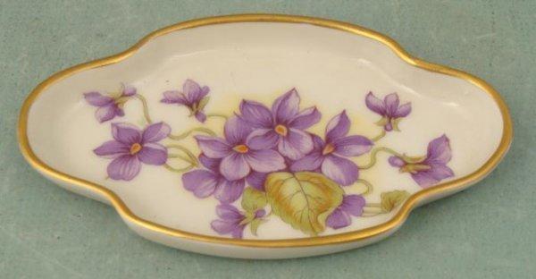 Limoges Small Purple Floral Trinket Dish France