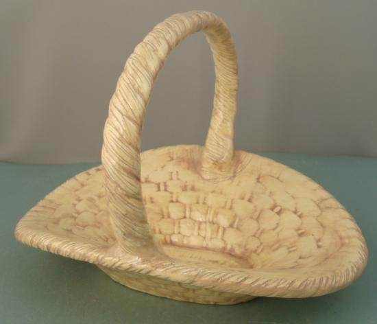 Ceramic Country Basket For Flowers, Art Pottery Décor