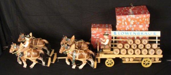 Lowenbrau Steha Vintage Wooden Beer Wagon w/Horses