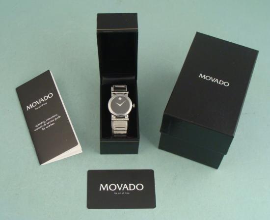 Movado Vizio Mens Black Stainless Modern Watch In Box