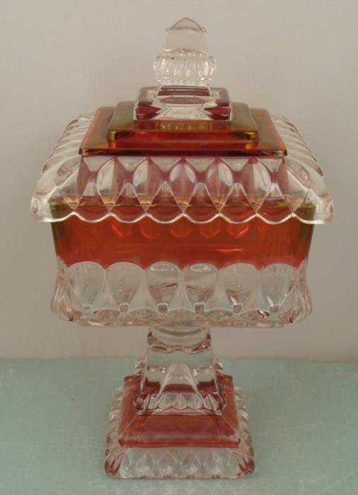 Vintage Crystal European Red Glass Candy Dish