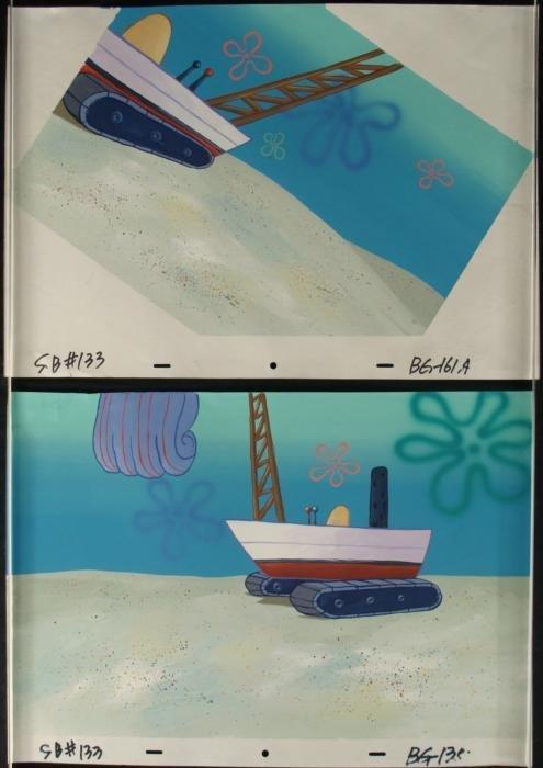 2) Boat and Crane Orig SpongeBob Background Animation