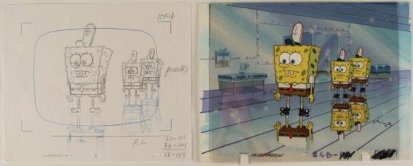 Original Drawing Cel and Background Animation Spongebob