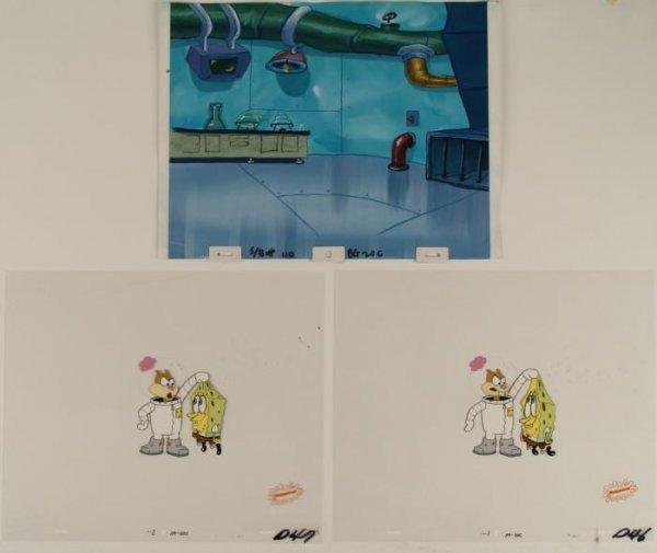 2 Sequential Cels Background Orig Animation Spongebob