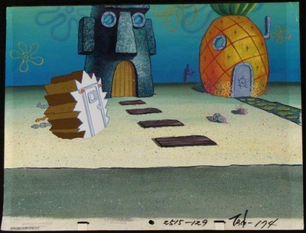 Blown Off Door Cel Orig Background Spongebob Animation