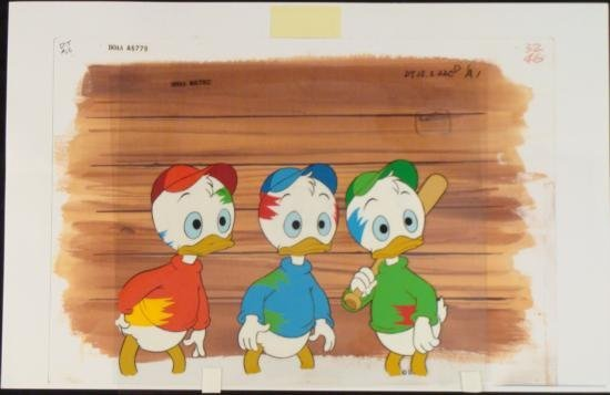 Orig Production Disney Huey Dewey Louie DUCKTALES Cel