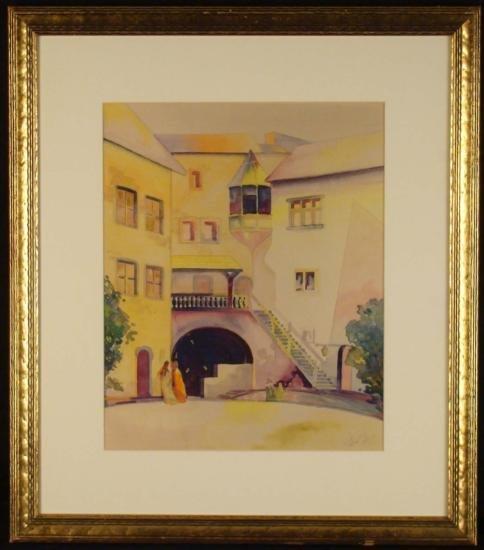 Original Watercolor Painting European Building Framed