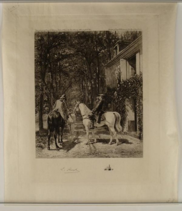 L Ruet Meissonier Signed Original Etching Horsemen 1922