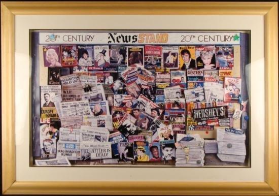 Ken Keeley 20TH CENTURY NEWSSTAND Art Mixed Media Frame