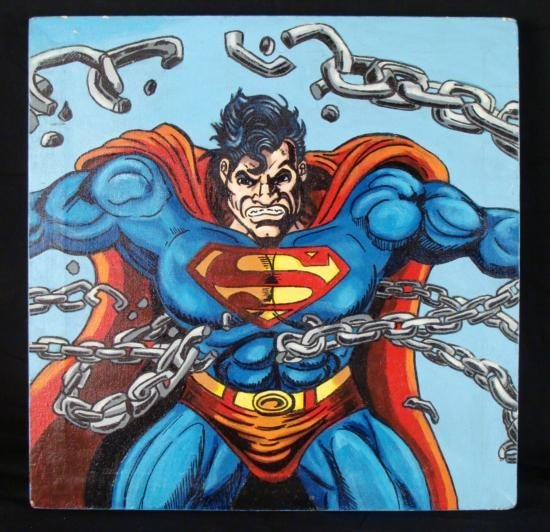 Steve Kaufman Original Painting On Canvas SUPERMAN