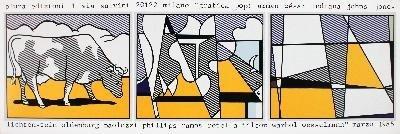 1985 Lichtenstein Cow Going Abstract Poster