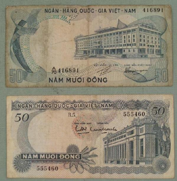 Two Different Old Vietnamese 50 Dong Bank Notes