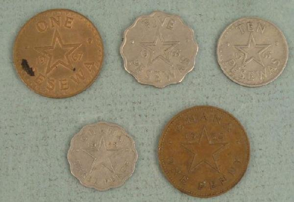 Ghana 5 Diff African Coins Pesewas, Pence 1958-67