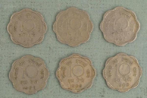 Lot 6 Paise Coins from India 5 Diff Dates 1959-1966