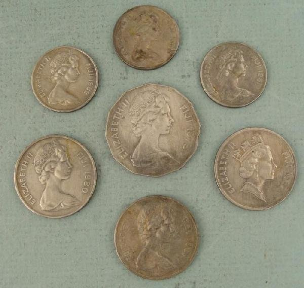 7 Diff Fiji Island Coins 50, 20, 10 Cent 1975-1987