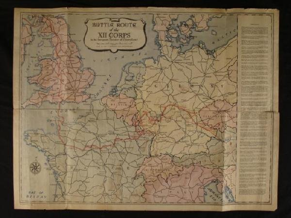 WWII ERA MAP EUROPE 1945 12TH US CORPS BATTLE ROUTE