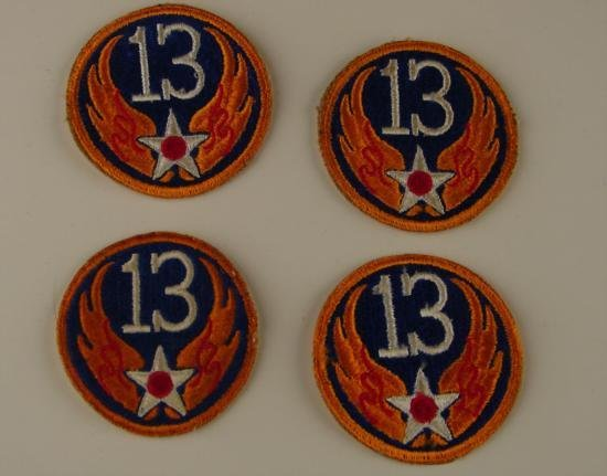 4 Pc Lot Military Shoulder Patches USAAF 13th Air Force