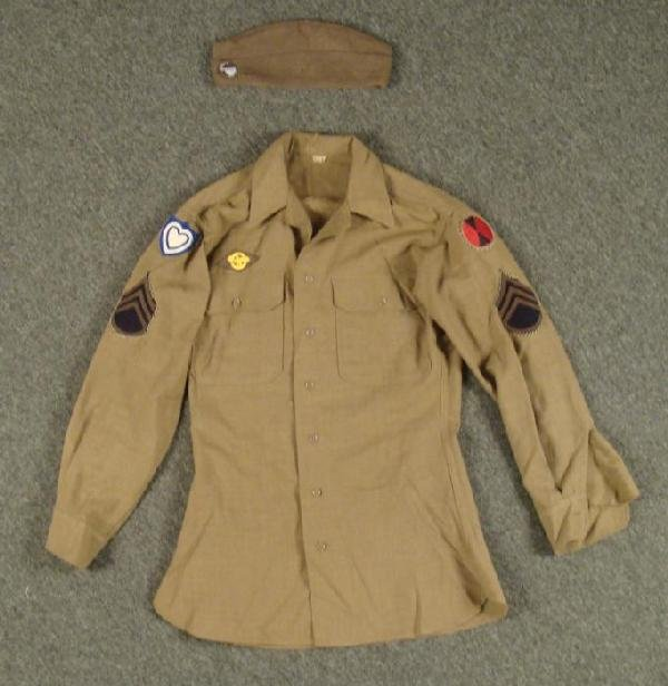 WWII ARMY SHIRT w/INSIGNIA 7TH DIV-24TH ARMY CORPS +CAP