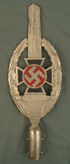 EARLY HEAVY NAZI NICKLE NSKOV MILITARY PARADE POLE TOP
