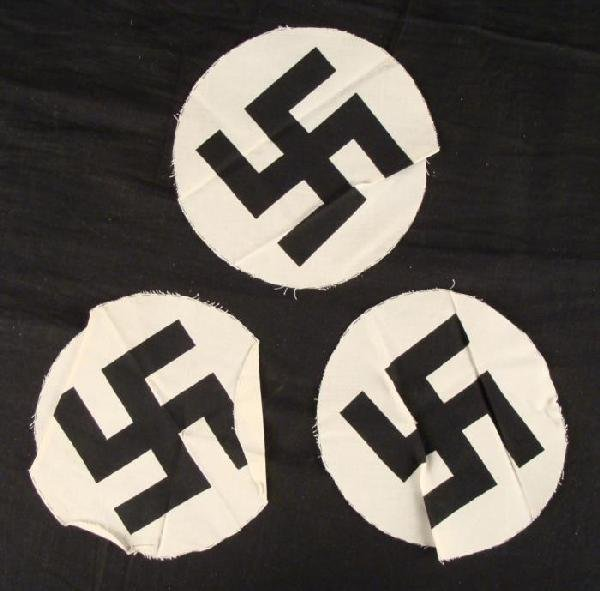 WWII NAZI- 3 ORIGINAL SWASTIKA DISCS FOR FLAGS UN-SEWN
