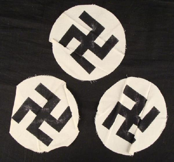 WWII NAZI- 3 ORIGINAL SWASTIKA DISCS FOR FLAGS UN-SEWN - 2