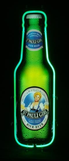 St. Pauli Girl Neon German Beer Bottle Bar Decor Sign