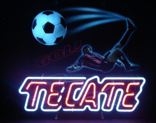 Tecate Neon Beer Bar Sign Soccer Futbol Cerveza