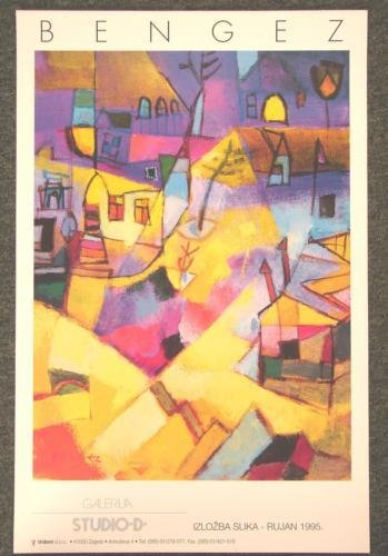 MILJENKO BENGEZ 1995 Art Exhibit Poster Zagreb Croatia